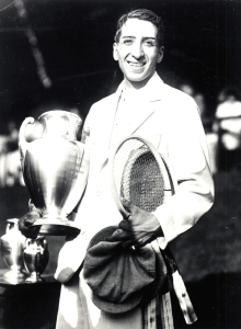 "René Lacoste, a member of the famous ""Musketeers"" tennis team of France and a star during the 1920's of the courts at Wimbledon, Forest Hills and Roland Garros."