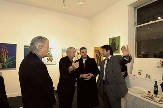 From left to right, Stephen Hall, Giovanni Bruzzi, collector, Diego Bruzzi at Bruzzi show in Washington, DC, 2004.